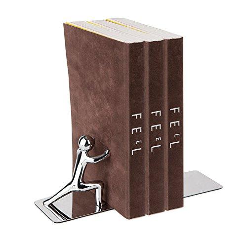 Balvi 23600 Serre-livres Push ! Gris chrome Zinc