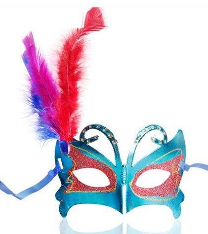 Halloween Ball Maske Kind Erwachsene Performance Kleid bis Schmetterling Half Face Maske Maskiert Party Requisiten blau