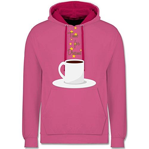 Küche - Kaffee-Tee-Spruch - Kontrast Hoodie Rosa/Fuchsia