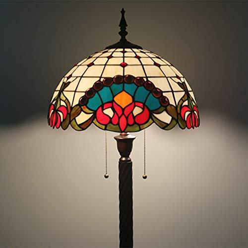 YIAIYW Traditioneller Art-Deco-Stil, europäische Stehlampe im Tiffany-Stil, Buntglas, für Schlafzimmer, Wohnzimmer und Esszimmer-B