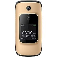 """YINGTAI - T16 2G Telefono Movíl con Tapa para Mayores - 2.0"""" Principal y 1.44"""" Exterior Patalla Celular - SOS Butón / Teclado Hablando / SIM Libre / Bluetooth / Despertador / Linterna (Oro)"""