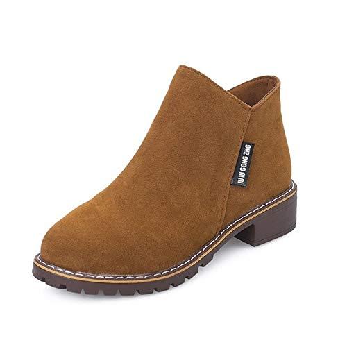 HELUMTXM Frauen Herbst Winter Stiefel Classic Zipper Snow Ankle Boots Frauen Schuhe 35-40 5.5 BROWNLow Schuhe Schuhe Pumps (Ankle Boots Frauen Zehe öffnen Für)