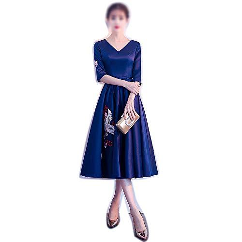 Frauenkleid Frauen kleiden Elegantes Retro- V-Ansatz Mittlere Hülsen-Partei-Abend-formales Kleid (Farbe : Dunkelblau, Size : S) -