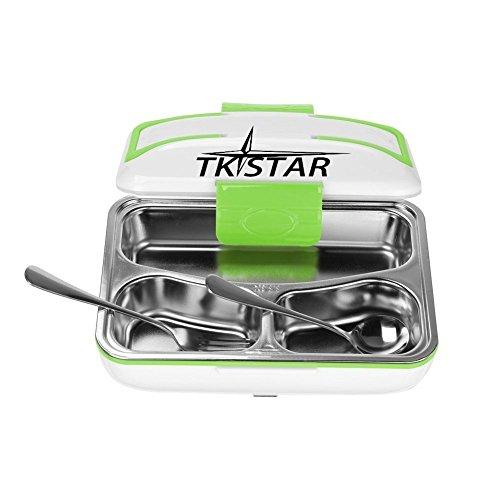 Elektrische Lunchbox, TKSTAR Elektro Edelstahl PP Material Notebook Box Lunchbox Elektro Abnehmbare 3-Raum Speisebehälter Bento Box für die Schule-Büro HB01 Grün