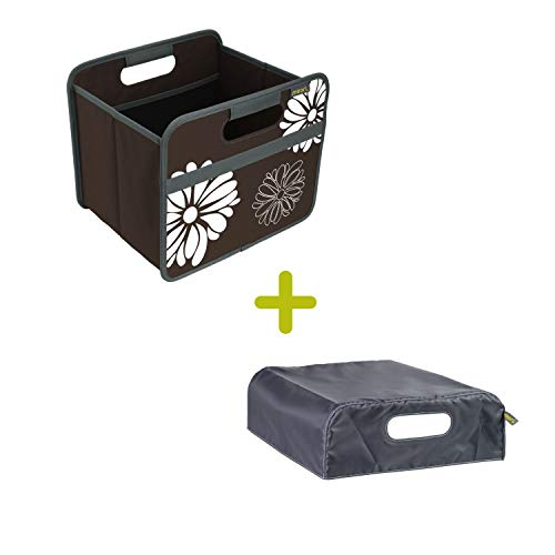 Faltbox Classic Small Kakao Braun / Blumen + Haube 32x26,5x27,5cm stabil, abwischbar, Polyester Staulösung Spielzeugbox Werkzeugbox Transportkiste Einkaufskorb Classic Haube