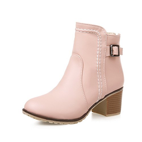 VogueZone009 Damen Blend-Materialien Schließen Zehe Stiefel Pink-Rücken Reißverschluss
