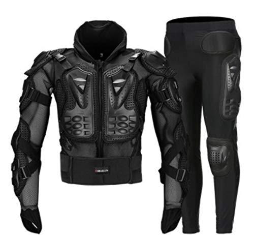 Motorrad Off-Road-Rüstung Kleidung Reiten Racing Anti-Wrestling Anti-Fall-Bekleidung Schutzweste Rüstung Helm Black XXL