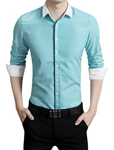 Hommes Manches Longues Veste Droite Contraste Couleur Détail Chemise Décontractée Bleu Clair