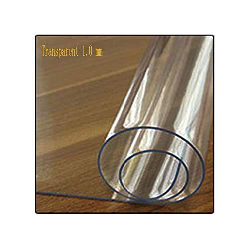 KenFandy PVC-Tischdecke transparente Tischdecke Abdeckung wasserdichte Küche Muster Öltischdecke Glas weicher Tuch-1.0mm, Klar, 70x120cm