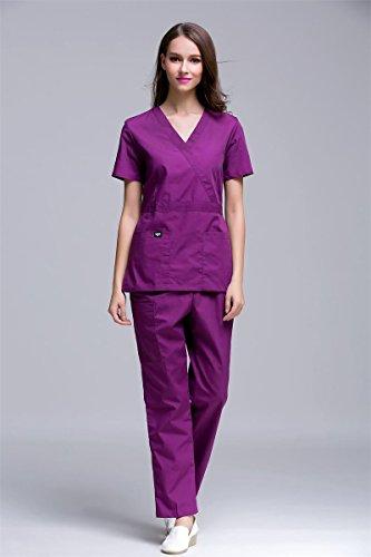 Xuanku Neue Art Und Weise Slim Fit Ärzte Krankenschwestern Scrub Sets Krankenhaus Uniformen Und Arbeitskleidung Adjustable Medical Tops Und Hosen Overalls Lab Kittel, Lila, L (Medical Uniform-top)