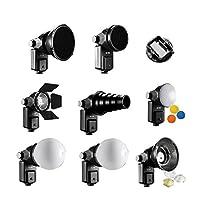 Falcon Eyes SGA-K9 Strobies Kit Le Strobies Kit SGA-K9 de Falcon Eyes contient 8 créateurs de différentes lumières. Par l'intermédiaire de l'adaptateur fourni, ils sont montés sur pratiquement tous les types de flashs d'appareils photo. Le SGA-K9 Str...
