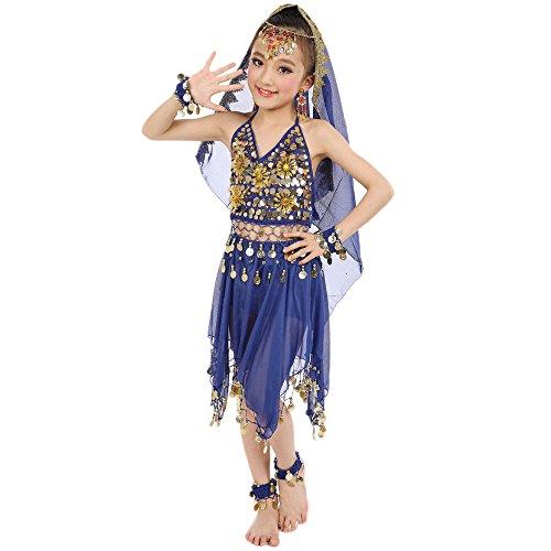 Lonshell Kinder Mädchen Bauchtanz Kleid mit Münzen Asymmetrischer Chiffon Performance Kostüm Kleid Ärmellos Ägypten Tanz Belly Dance Tanzkleid Tanzkostüme Outfit (Weiß Und Gold Bauchtanz Kostüm)