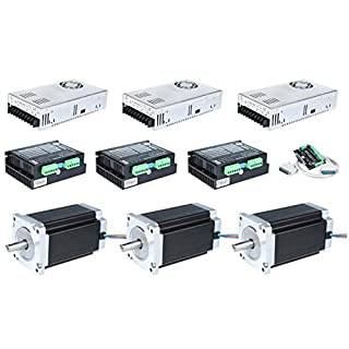 ACT MOTOR GmbH 3Axis Nema34 Stepper Motor 34HS5460D14L34J5-1 150mm 12Nm 6A Keyway Shaft φ14mm+Driver DM860 256Microsteps CNC Router+Power Supply 350W 60V CNC Automation Plasma