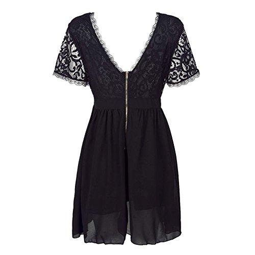 West See Damen Spitze Kleid Tief V Sommer Rückenfrei V-Ausschnitt Kurz Kleid Mini Partykleid Mesh Abendkleid Festlich A-Linie ClubWear Weiß