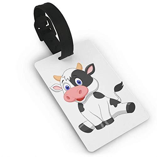 Ewtretr Kofferanhänger,Gepäckanhänger, Luggage Tag with Hand Strap Durable Cute Cartoon Cow Travel Suitcase Bag Tag Identify Label