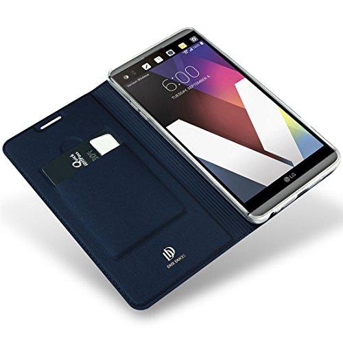 Wrcibo LG G6 Hülle, Premium PU Leder Flip Cover Tasche Schutztasche Handyhülle mit Magnetverschluss und Standfunktion für LG G6- Blau