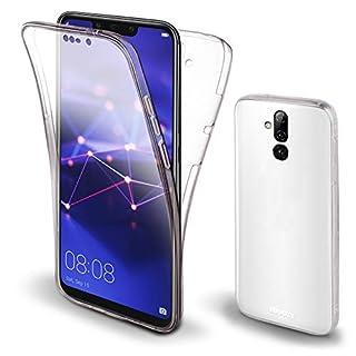 Moozy 360 Grad Hülle für Huawei Mate 20 Lite - Vorne und Hinten Transparenter TPU Ultra Dünn Weiche Silikon Handyhülle Case
