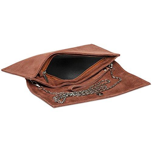 CASPAR TL702 Damen Wildleder / Veloursleder Clutch Tasche mit Handschlaufe Altrosa