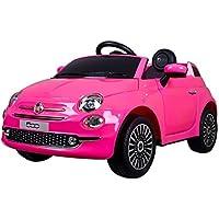 B90106 Coche eléctrico para niños FIAT 500 cabrio asiento cuero 12V Teledirigido - Rosa