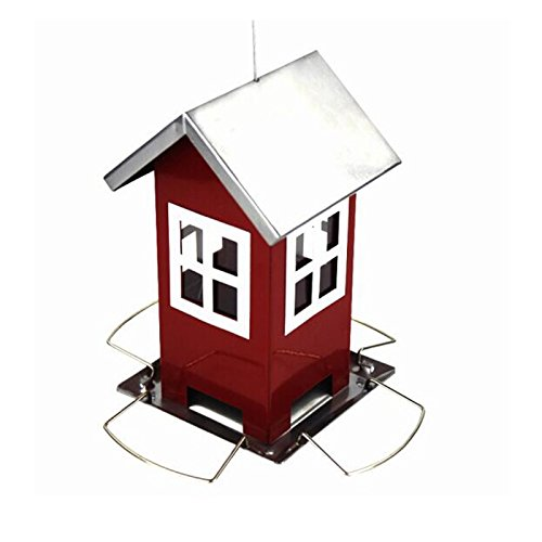 Pet Online Outdoor Metall Vogel Feeder Farm Outdoor Garten Dekoration Metall Hängende Rote Haus Automatische Vogelfutter Feeder (Farm Vogel-feeder)