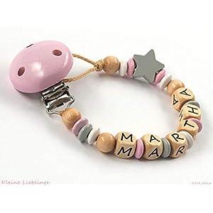 Schnullerkette mit Namen - Holzprodukt - Mädchen max. 8 Buchstaben - natur - rosa - grau - weiß - Holzbuchstaben Baby - Geburtsgeschenk - Made in Germany