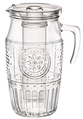 Bormioli Rocco 335942 Romantique Krug mit Eisbehälter und Plastikdeckel, 1800 ml, Glas, transparent, 1 Stück
