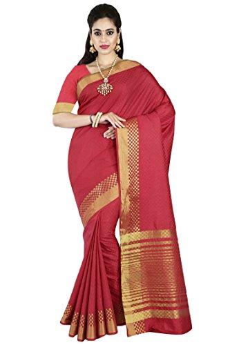 arars Women's Tassar Silk Saree Kanchipuram Style with Blouse (TECB01 MEERON)