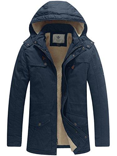 Wenven giacca a vento parka uomo cotone imbottito con cappuccio militare marina x-large