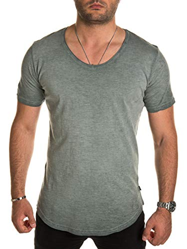 Lily Pad Tee (PITTMAN Herren T-Shirt Maxi Long Tee lang - einfarbige Herrenshirt - urban Streetwear Männer Sommer Vintage T-Shirts, Grün (Lily Pad 165807), L)