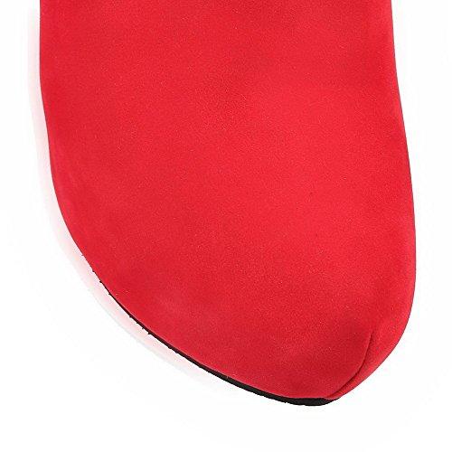 VogueZone009 Donna Punta Tonda Tacco Alto Bassa Altezza Puro Stivali con Metallo Rosso