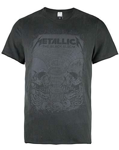 Amplified Herren Metallica-The Black Album T-Shirt, Grey (Charcoal Cc), L