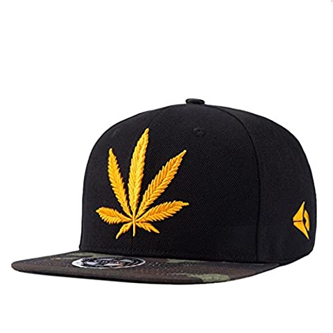 Männer flach entlang Hip Hop Hüte Hip-Hop Baseball Cap männlichen Hanf Blatt Stickerei Persönlichkeit Cap , black
