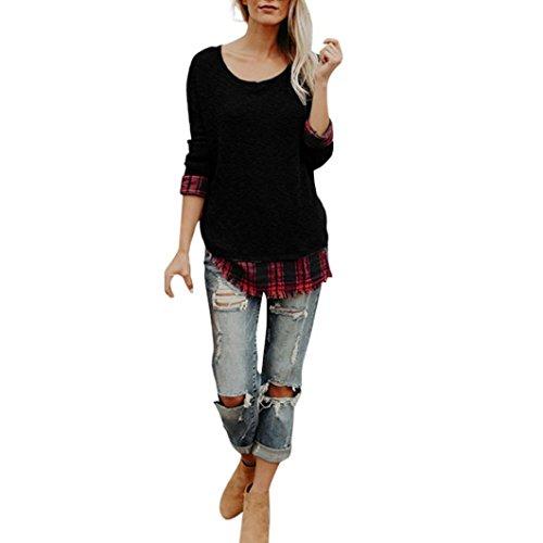 Unregelmäßigen Chiffon-bluse (Damen Bluse,BeautyTop Beiläufige Frauen Plaid Lattice Patchwork O Hals Langarm Lose Unregelmäßige Pullover Bluse Tops (Schwarz, S))