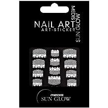 Medis Sun Glow pegatinas de uñas a la francesa, la red de adorno floral, blanca