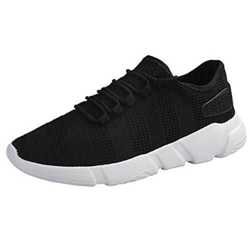 Atmungsaktive Sportschuhe Herren,ABSOAR Männer Mode Mesh Laufschuhe Casual Sneakers Lace-Up Turnschuhe 2018 Sommer Gym Skate Einzelne Schuhe Rund Flach Schuhe (EU:42.5/CN:44, Schwarz)