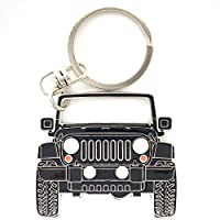 3dcrafter Wrangler JK Keychain tag Compatible with Jeep for Man Women Made from Steel Key fob Accessories Grill Chain (grillblack)