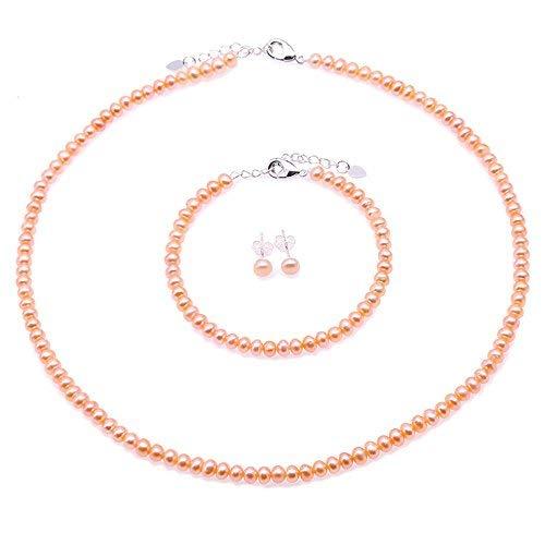 JYX Perlenkette Set perlenkette rosa halskette rosa 4-5mm Rosa Süßwasser Zuchtperlen Halskette Armband und Ohrringe Schmuck-Set (Zuchtperlen-schmuck-sets)