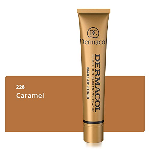 Dermacol Deckendes Make-up Cover für Gesicht und Hals - Wasserfeste Foundation mit LSF 30 für einen makellosen Teint - Stark deckendes helles Caramel 228, 30g -