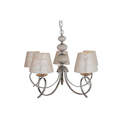 supenrova decoracion-35755053 Ampoule Chrome 5 Lumières avec boules de Nacar et écrans Nacar ampoules 3 x E14 dimensions : 54 x 47