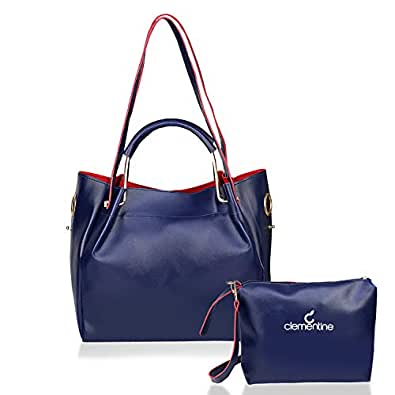 Clementine Women's Synthetic Texas Handbag with Sling Bag Combo (Blue)