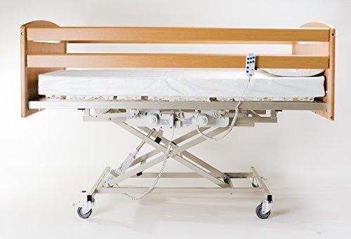 Goldflex - Letto di Degenza Ospedaliero e Ortopedico 90X195 per uso SINGOLO SANITARIO ,ROBUSTO ausilio per disabili - Munito di RETE elettrica a 2 MOTORI indipendenti + carrello ELEVATORE alza malato estensione fino a 80cm + 4 Ruote Piroettanti per Trasporto in Casa compreso di sistema frenante e sponde contenimento // OFFERTA IRRIPETIBILE