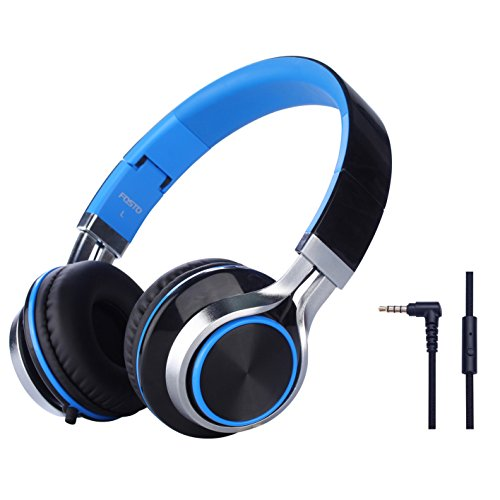 Headphones, FOSTO FT58 Stereo Folding Headset Strong Low Bass Headphones with Microphone for iPhone, All Android Smartphones, PC, Laptop, Mp3/mp4, Tablet Earphones (Blue/Black)