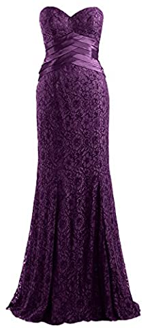 MACloth Women Mermaid Strapless Lace Evening Gown Wedding Party Formal Dress (UK10, Plum)