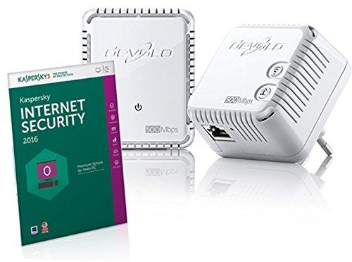 Verstärker Kit (Kaspersky Internet Security + devolo dLAN 500 WiFi Starter Kit Powerline (sicheres und schnelles Internet über die Steckdose, 300 Mbit/s per WLAN, 500 Mbit/s per dLAN, Schutz vor Viren, Malware und Ransomware))