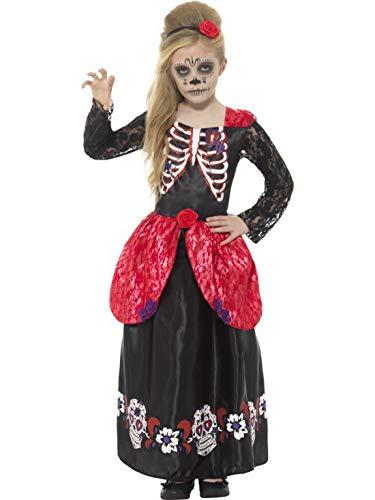 Halloweenia - Mädchen Kinder Kostüm Tag der Toten Kleid mit Skelett Print und Haarreif, Day of The Dead Dress with Tiara, perfekt für Halloween Karneval und Fasching, 140-152, Schwarz