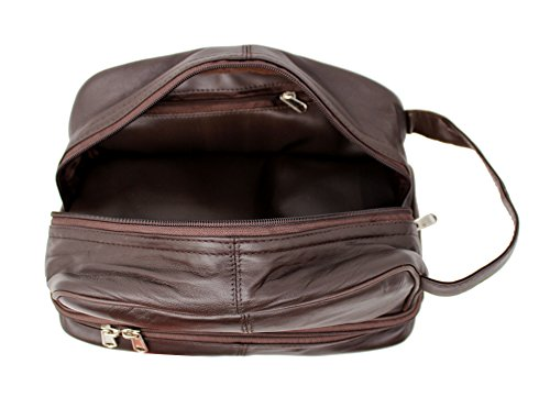RAS Men's Leather Wash Bag with Carry Handle -  Brown