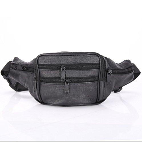 Swallowuk Erste Schicht aus Leder Herren Taschen, Freizeit Brust Ärmel Schulter Messenger Bag (schwarz) schwarz