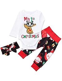 ❤️ Tefamore Bebe Niña Conjunto de Ropa Manga Larga Mameluco + Navidad Impresión Pantalones + Diadema, 0 a 24 Meses Recien Nacido Unisexo Ropa