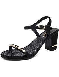 GLTER Mujeres Ankle Strap Bombas Verano Nuevos zapatos de las mujeres Simple Confortable cuentas con gruesas sandalias de tacón alto Corte zapatos albaricoque negro , black , 34