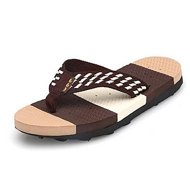 Slippers & amp da uomo;Estate Outdoor similpelle piatto tacco sandali Nero Marrone Blu sandali US10 / EU43 / UK9 / CN44